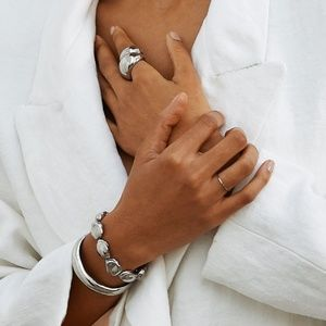 Silver Orb Cuff Bracelet and Ring Set